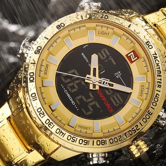 Relógio Masculino Naviforce Dourado Esportivo Original