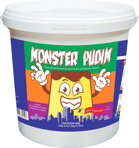 Monster Pudim Gigante Baunilha - Rende 2,4kg - Divertido