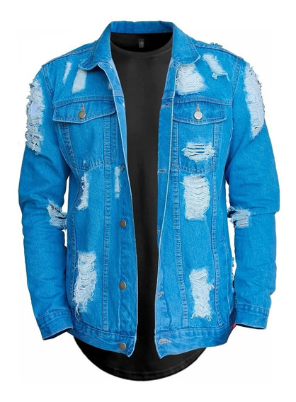 Jaqueta Jeans Destruida B34 + Camiseta Longline Street