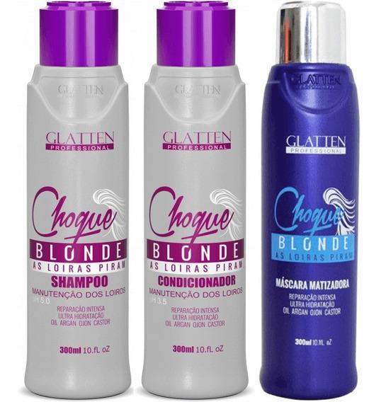 Glatten Choque Blonde Kit Shampoo Condicion Máscara 3x 300ml