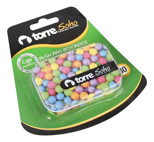 Pack 7 Chinche Push Pin Redondo Colores Neon Caja Metalic