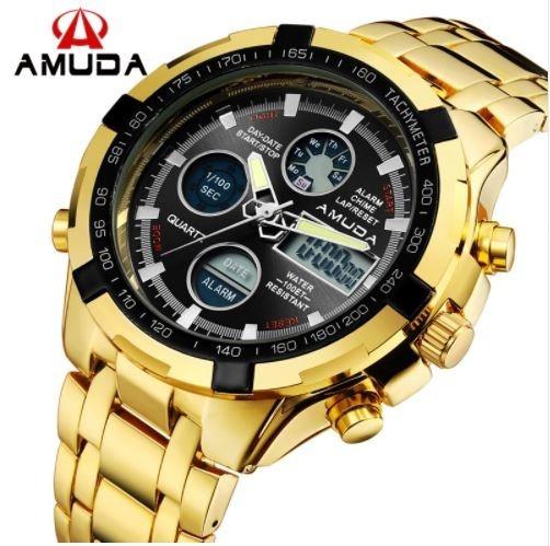 Relógio Masculino Dourado Digital E Analógico Frete Grátis