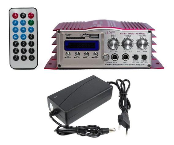 Mini Modulo Amplificador Karaoke 400 Watts Com Bluetooth Usb