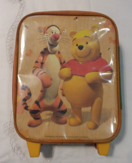 Ptd-4103 Mochila Infantil 12 Pulgadas Winnie Poo Y Tigger Con Carro Y Rueditas. Perfecto Estado!