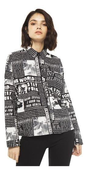 Camisa Paper Casual Poplin Manga Larga Mujer Complot