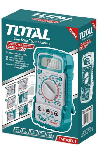 Imagen 1 de 9 de Tester Multimetro Digital Profesional Industrial Total 46001