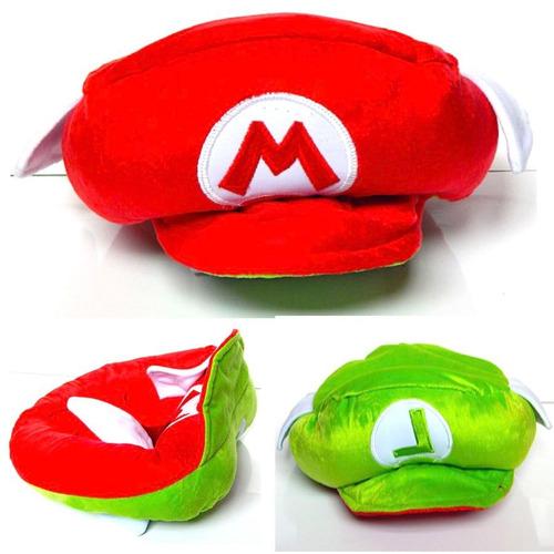 Mario Bros Gorro Peluche Gorra Doble Vista Luigi 2 En 1
