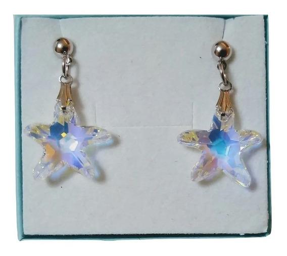 Brincos Cristal Swarovski Estrela Do Mar Aurora Boreal