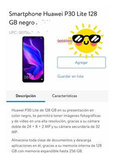 Smartphone Huawei P30 Lite 128 Gb Negro Telcel.