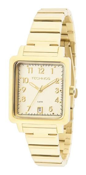 Relógio Feminino Technos Dourado Quadrado 2115kpj/4d