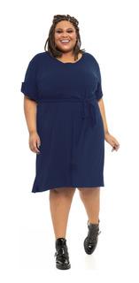 Vestido Plus Size Wonder Size Amarração Marinho