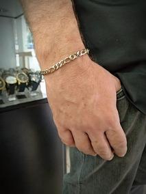 Pulseira Masculina Aço Com Banho De Ouro Grume 3x1 20cm