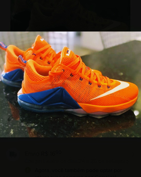 Tenis Nike Lebron James 12 Low Orange 42 Zerado