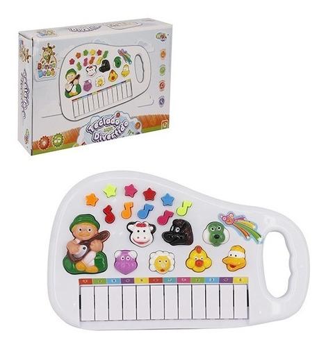 Piano Teclado Fazendinha Sons/luz Infantil 12 Teclas