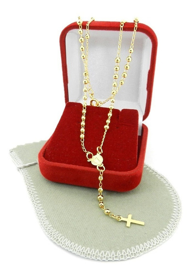 Terço Feminino 50cm Folheado Ouro Gg158