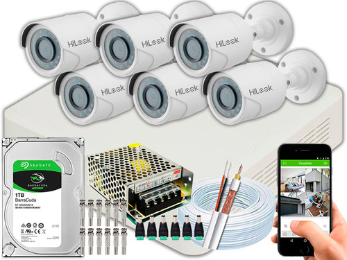 Kit 6 Câmeras Segurança Full Hd Hilook 2mp 20m Dvr-108g 1tb
