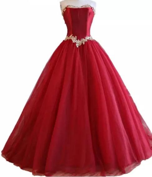 Vestido Vermelho 15 Anos Princesa Luxo Renda Dourada
