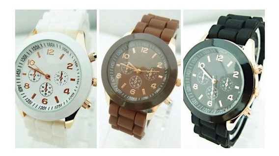 Lindo Relógio Puls. Borracha Quartz, Preto, Marrom E Branco