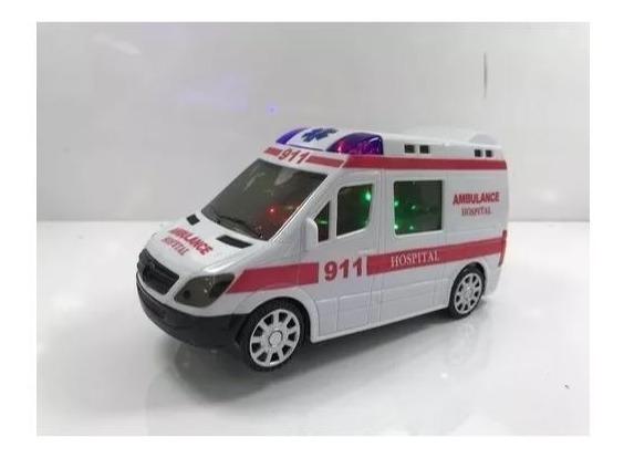 Carrinho De Ambulância Eletrônico Com Som Leds Bate E Volta