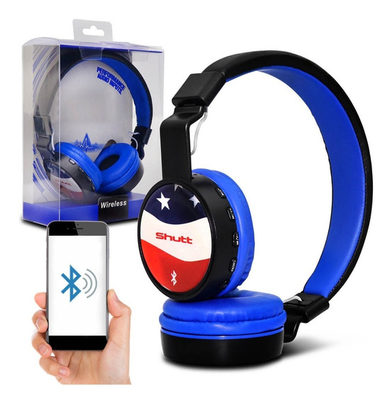 Fone De Ouvido Headphone Eua Wireless Sd Mp3 P2 Azul Shutt