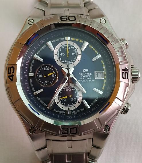 Relógio Casio Edifice E520d Azul Raridade - Perfeito Estado