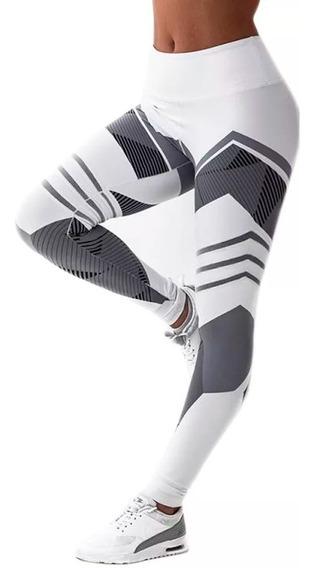 Leggins Atletico Impresion 3d Blanco D2033