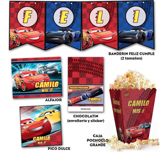 Kit Imprimible Cars 3 Candy Bar Deco Banderín Invitaciones