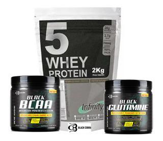 Combo Suplementos Whey 2kg Bcaa 300g Glutamina 300g