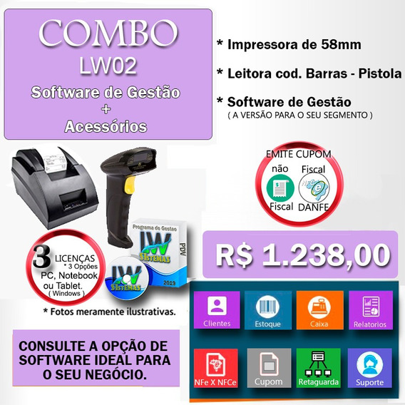 Kitp005 Erp Pdv Com Impressora E Leitor De Código De Barras