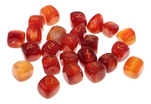 Runa Esculpida À Mão Pedra Preciosa Vermelho