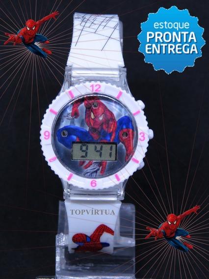 Relógio Homem Aranha Branco Digital Infantil Com Som E Luzes