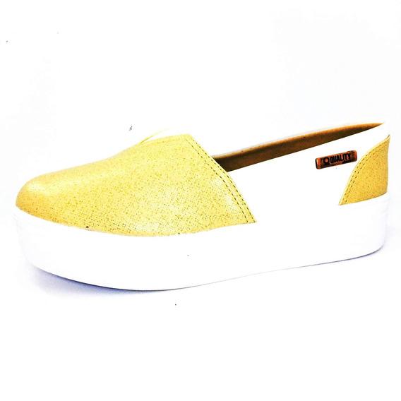 Tênis Flatform Quality Shoes Feminino 003 Dourado E Branco