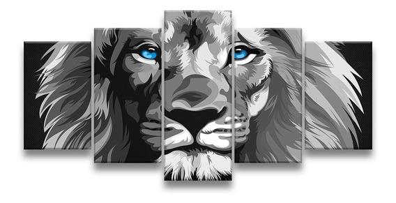 Quadro Decorativo 129x63 Sala Leão Luxo P & B Olhos Azuis