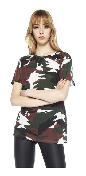 Remera Soldier Camuflado Jersey Cuello Redondo Mujer Complot