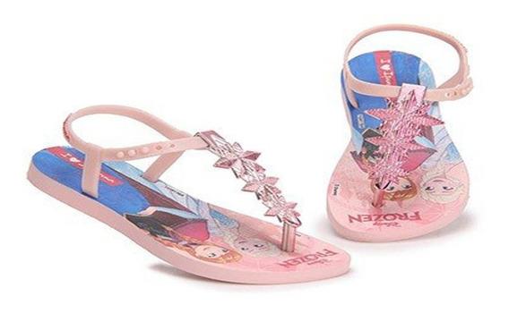 Sandália Rasteira Frozen Ipanema Princesas Rosa Ou Azul