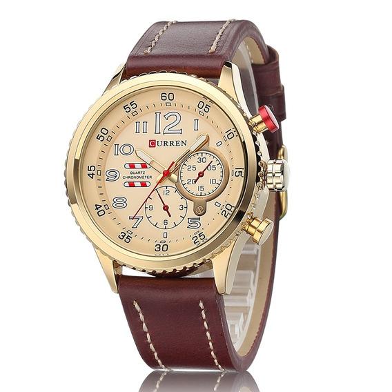 Relógio Curren Original 8179 Masculino Dourado Esportivo