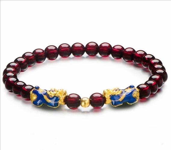 Pulsera Feng Shui Budista Tibetana Original Onix Rojo Buena Suerte Dinero Amor Salud Piedra Verde Ajustable 17-23cm