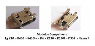 5 Conector Carga Dock Usb Lg K10 K430 K4 K130 K130f D337