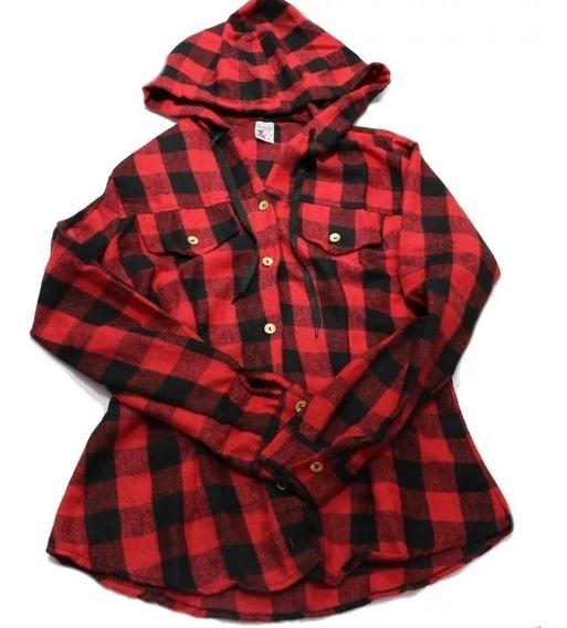 Blusa Camisa Feminina Xadrez Flanelado Com Touca C/ Capuz