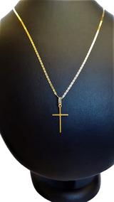 Correntinha De Ouro 18 K Piastrine 45cm C/ Ping Crucifixo