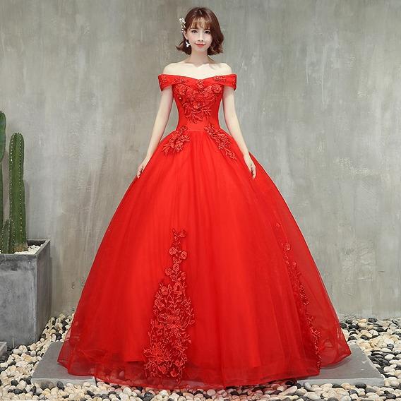 Vestido Quinceañera Xv Años Strapless Princesa Apliqués Rojo