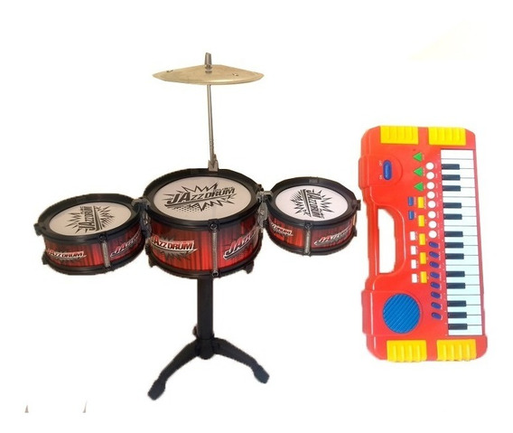 Kit Mini Bateria Infantil + Mini Teclado Musical - Promoção