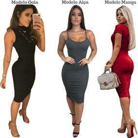 Kit 3 Vestido Feminino Midi Verão Luxo Ribana Canelada 2019