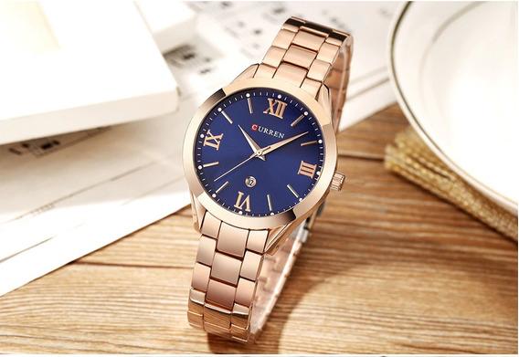 Relógio Feminino Curren 9007 Aço A Prova D