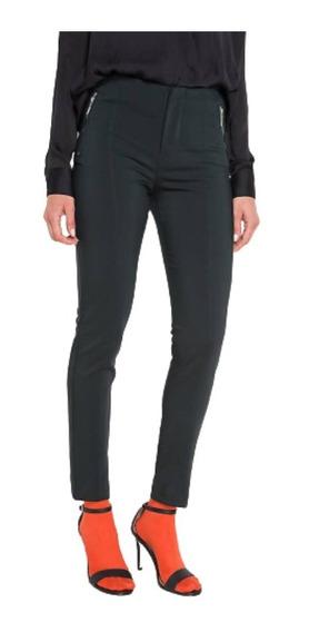 Pantalón Vestir Elastizado Tiro Alto Cierres Tapita Chupín