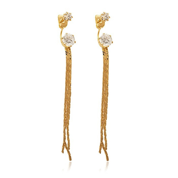 Brincos 7cm Franjas Zirconias 15 Microns Ouro 18k