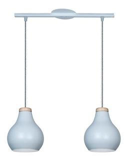 Lámpara Colgante 2 Luces Nordico Mari Blanco Negro Madera