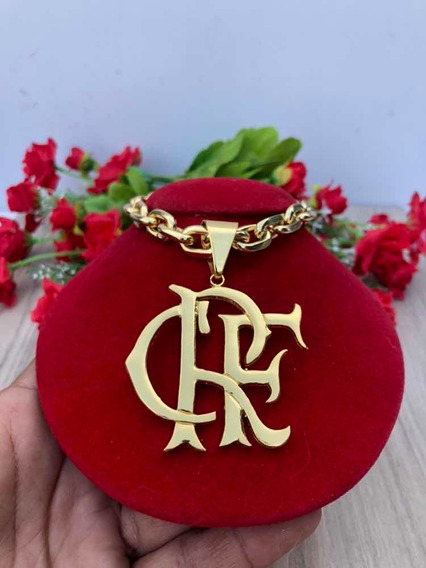 Cordão Cadeado Banhado A Ouro + Pingente Do Flamengo Crf 70c