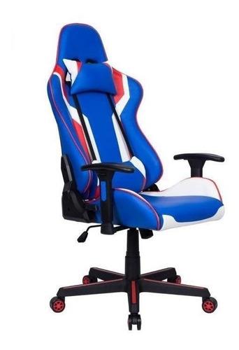 Cadeira de escritório Pelegrin 3010  azul, branca e vermelho com estofado do couro sintético