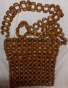 Bolsa Tiracolo ,feita C Bolinhas De Madeira, Estilo Anos 60